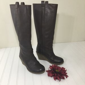 Kickers Tall Brown Wedge Boots, Size 37/Size 6